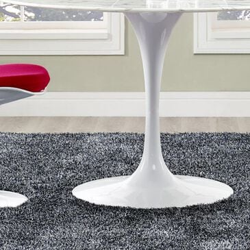 """Modway Lippa 47"""" Round Artificial Marble Dining Table in White - Table Only, , large"""