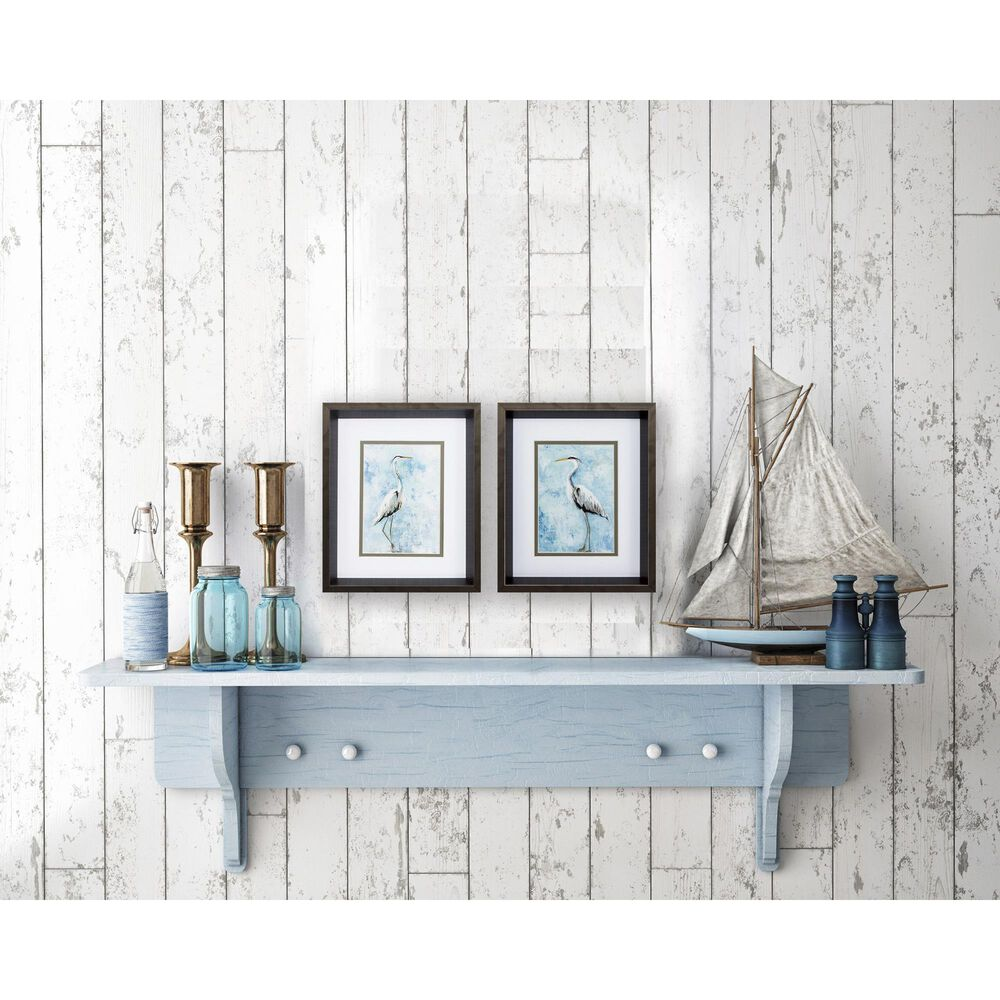"""Propac """"Hazy Morning Heron"""" Wall Art in Blue (Set of 2), , large"""