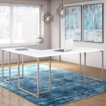 "Bush Method 72"" L Shaped Desk with 30"" Return in White, , large"
