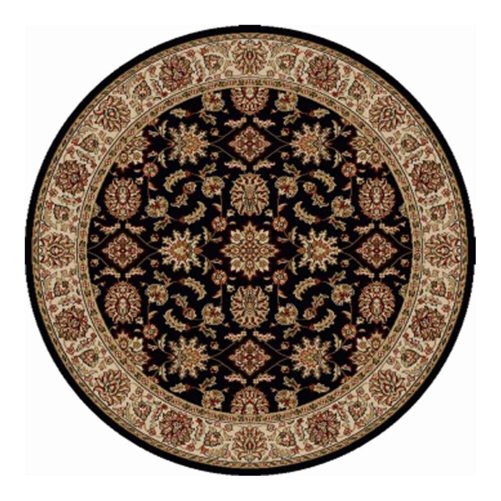 Radici USA Bergamo 1592 8' Round Black Area Rug, , large