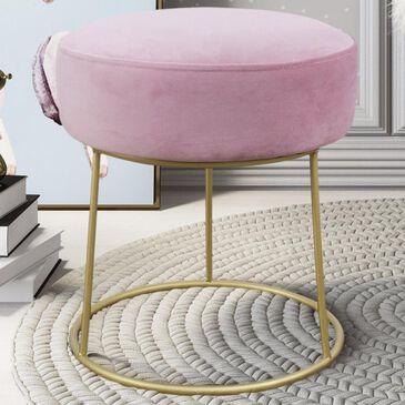 Tov Furniture Nina Velvet Stool in Blush, , large