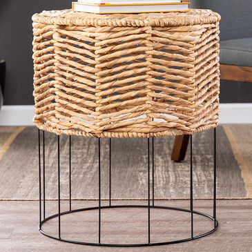Southern Enterprises Water Hyacinth Accent Table in Natural/Black, , large