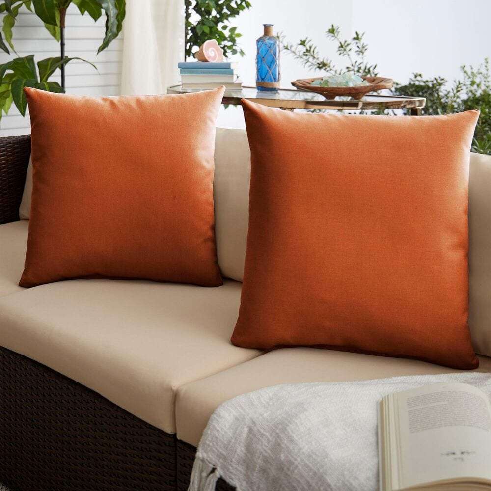 """Sorra Home Sunbrella 22"""" Pillow in Canvas Rust (Set of 2), , large"""