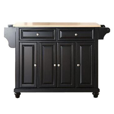 Crosley Furniture Cambridge Natural Wood Top Kitchen Island in Black, , large