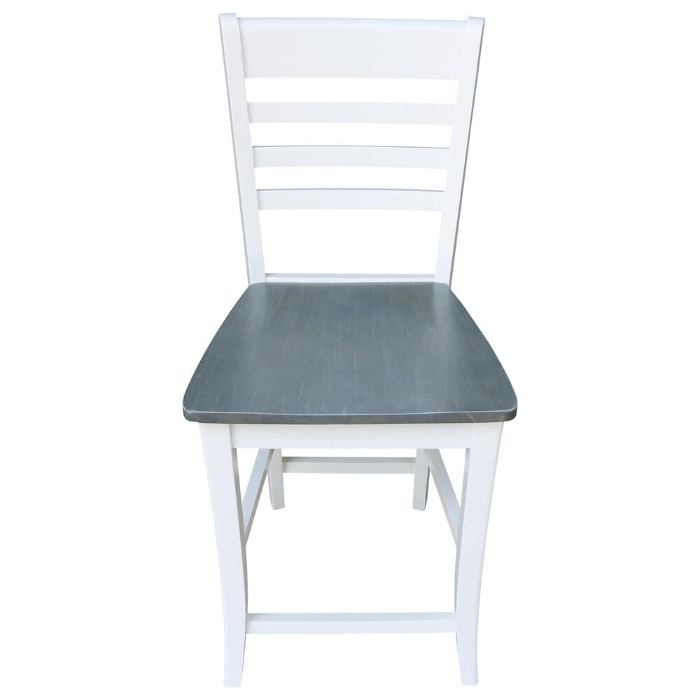 """International Concepts Roma 24"""" Counter Stool in White/Heather gray, , large"""