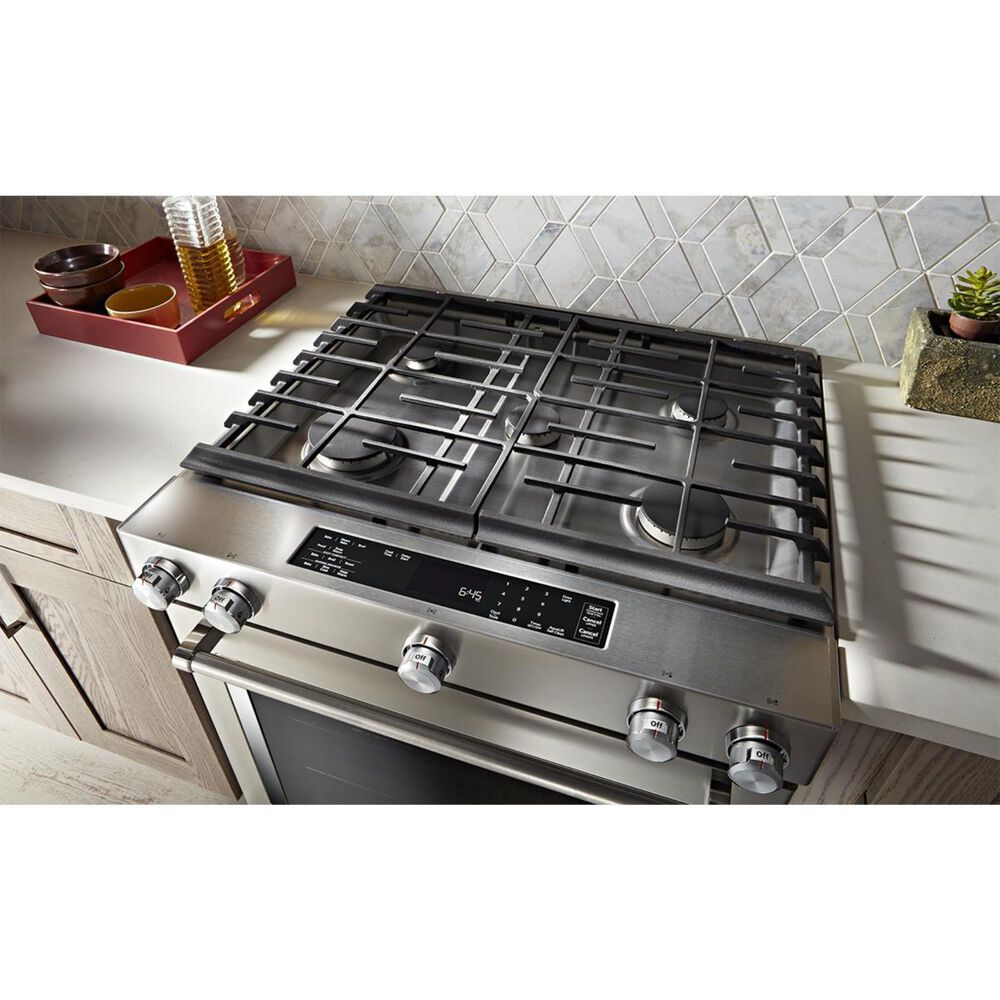 """KitchenAid 30"""" 5-Burner Dual Fuel Convection Slide-In Range with Baking Drawer in Stainless Steel, , large"""