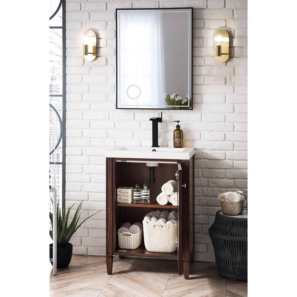 """James Martin Brittania 24"""" Single Bathroom Vanity in Mid Century Acacia with White Glossy Resin Top, , large"""