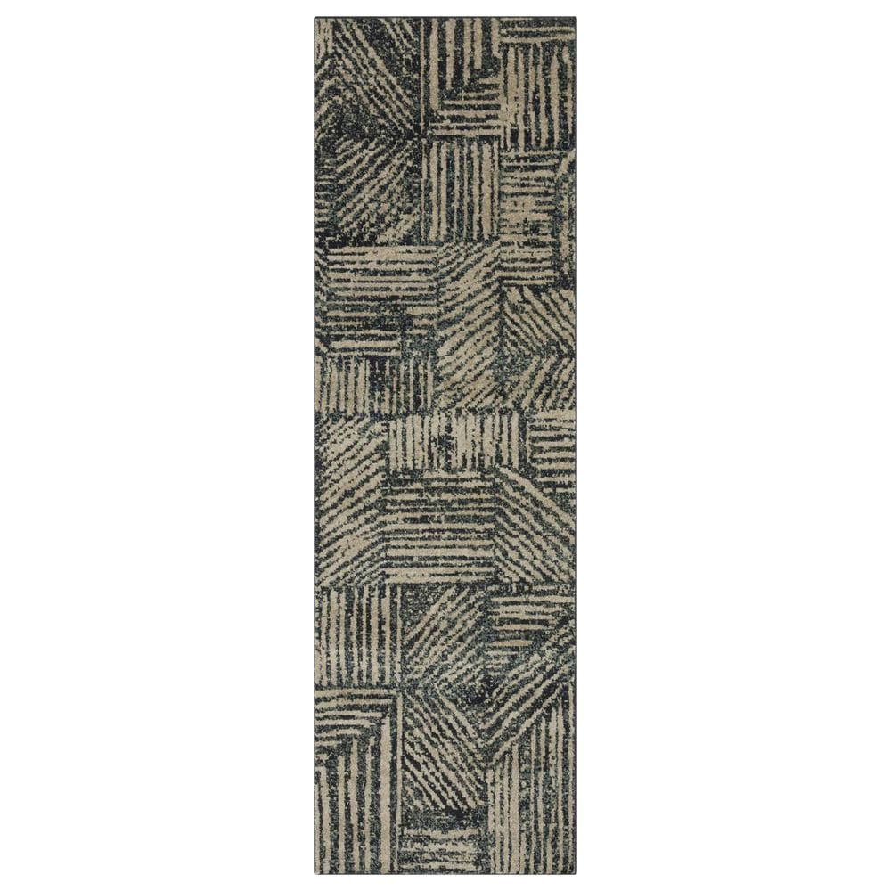 "Loloi II Bowery 2'3"" x 7'6"" Midnight and Taupe Runner, , large"