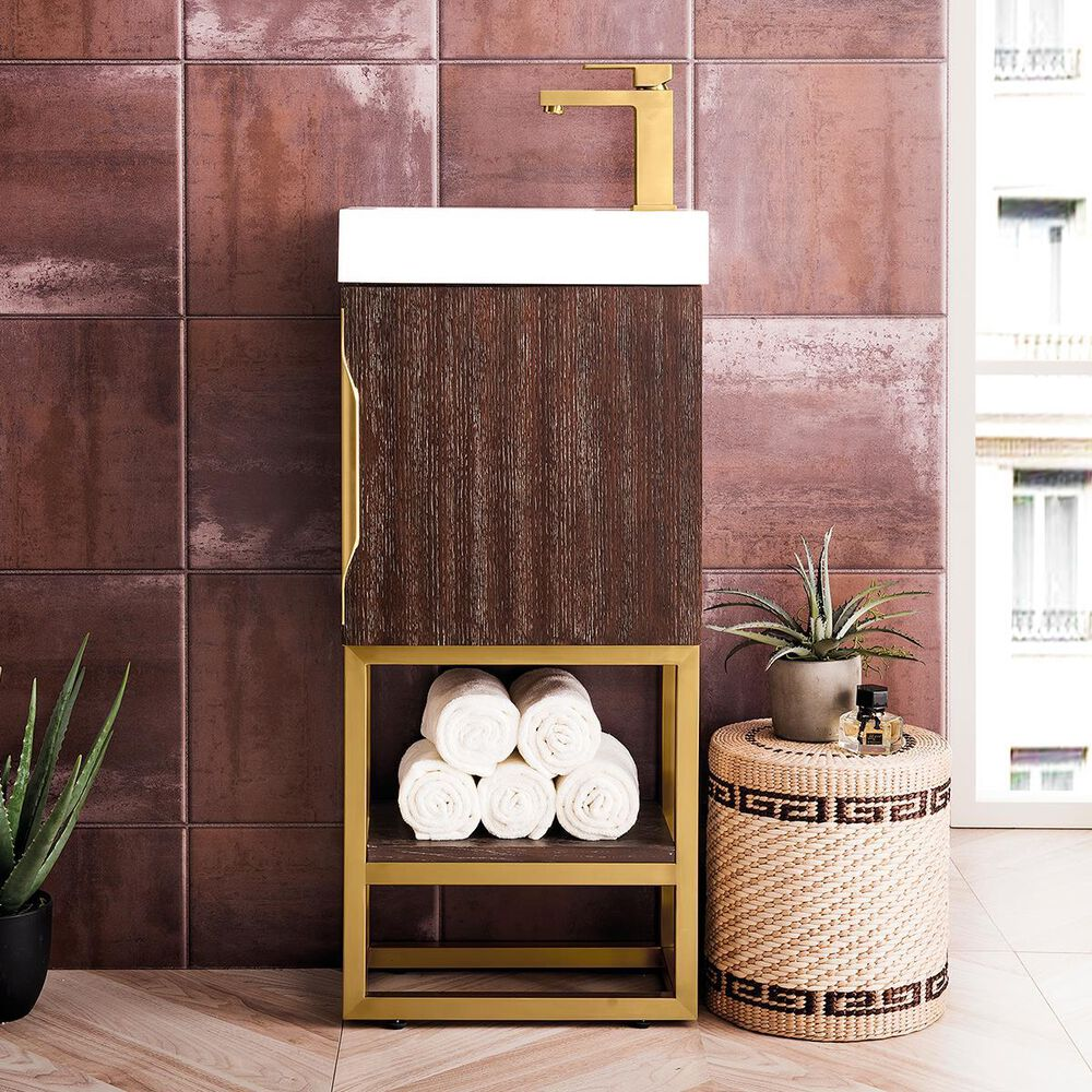 """James Martin Columbia 16"""" Single Vanity Cabinet in Coffee Oak, Radiant Gold, with White Glossy Solid Surface Top, , large"""