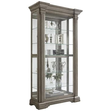 Chapel Hill Sliding Door Curio Cabinet in Gray, , large