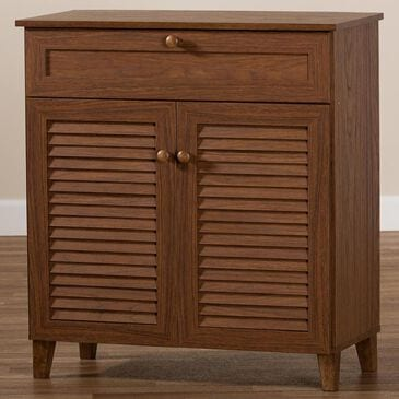 Baxton Studio Coolidge 4-Shelf Shoe Storage Cabinet with Drawer in Walnut, , large