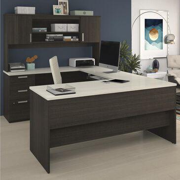 Bestar Ridgeley U-Shaped Desk In Dark Chocolate & White Chocolate, , large