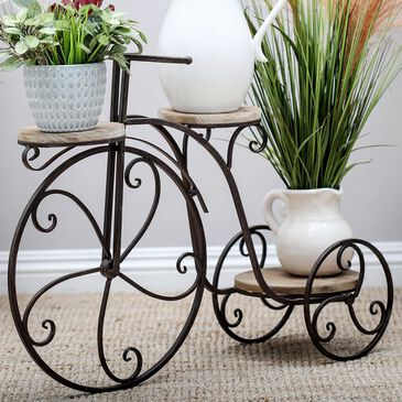 Maple and Jade 3-Platform Bicycle Plant Stand in Antique Bronze and Natural, , large