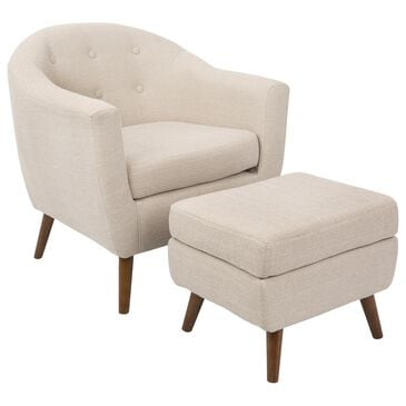 Lumisource Rockwell Accent Chair and Ottoman in Beige and Walnut, , large