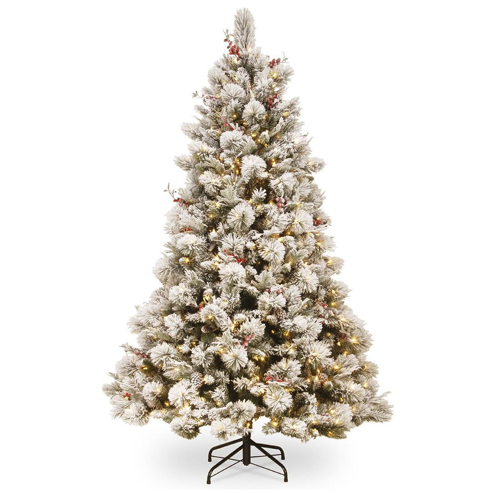 """National Tree 7.5"""" Bedford Pine Slim Tree with Snow, Red Berries, Cedar Leaves, Mixed Cones & 500 White Lights, , large"""