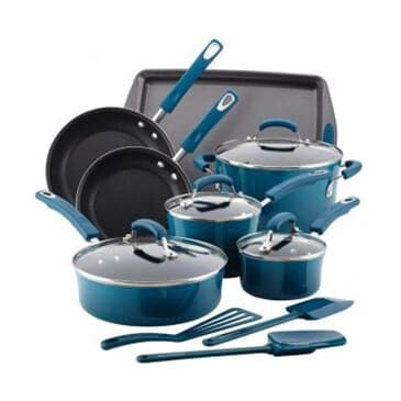 Rachael Ray 14-Piece Hard Enamel Nonstick Cookware Set, , large