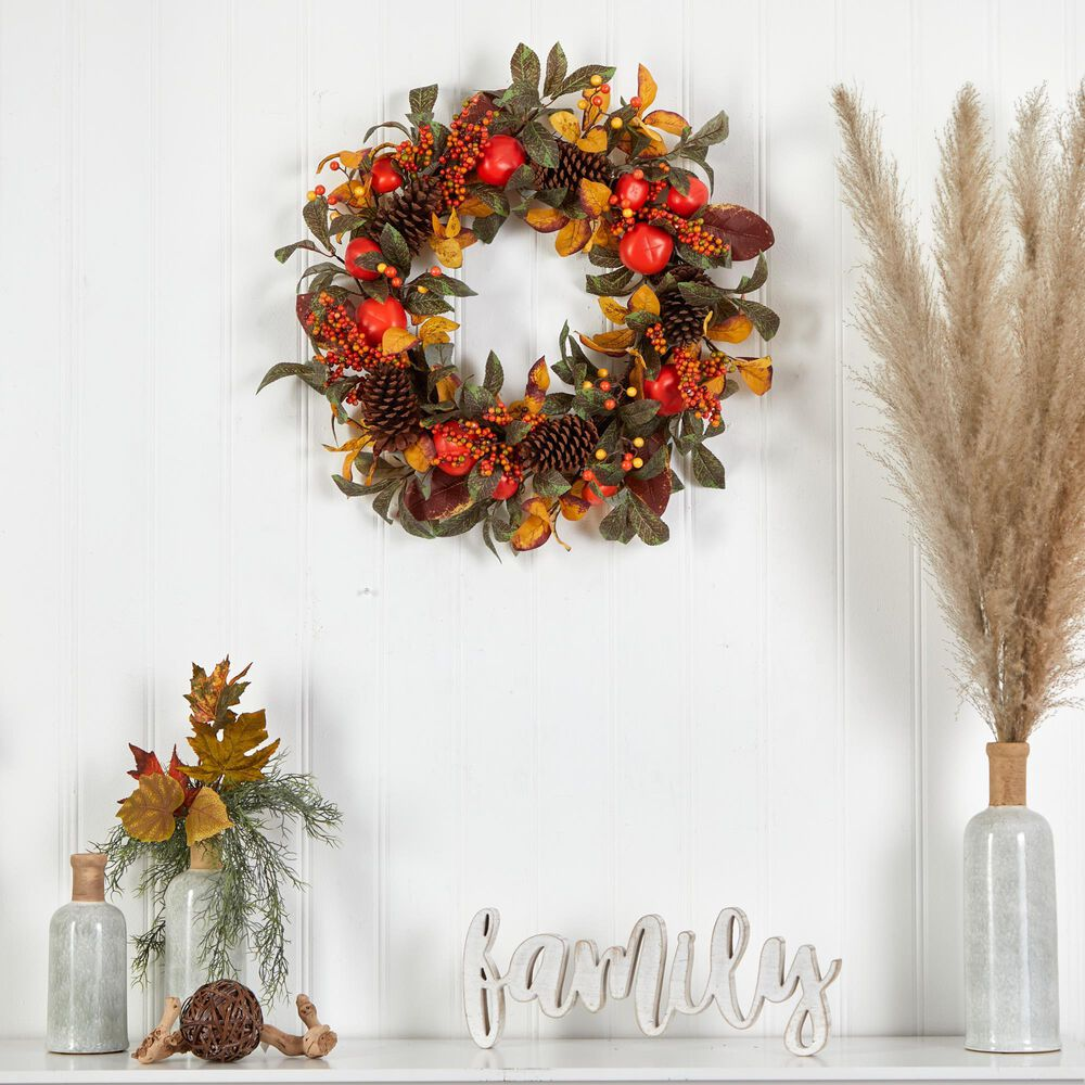 Nearly Natural Inc 26in. Autumn Persimmon and Pinecones Artificial Fall Wreath, , large