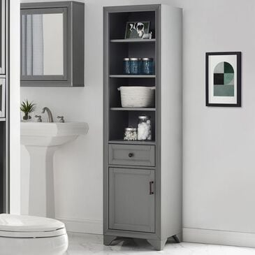Crosley Furniture Tara Linen Cabinet in Grey, , large
