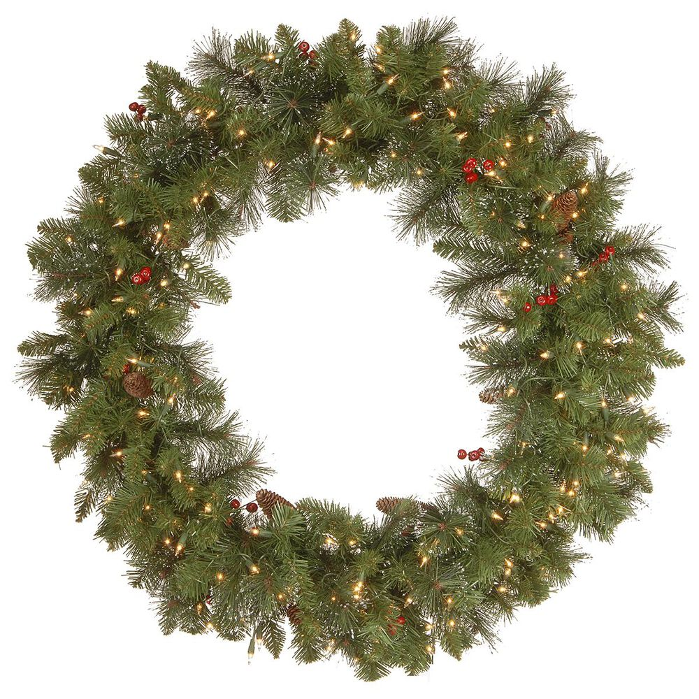"""National Tree 36"""" Crestwood Spruce Wreath with White Lights, , large"""