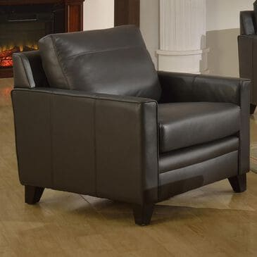 Italiano Furniture Fletcher Leather Chair in Charcoal Gray, , large