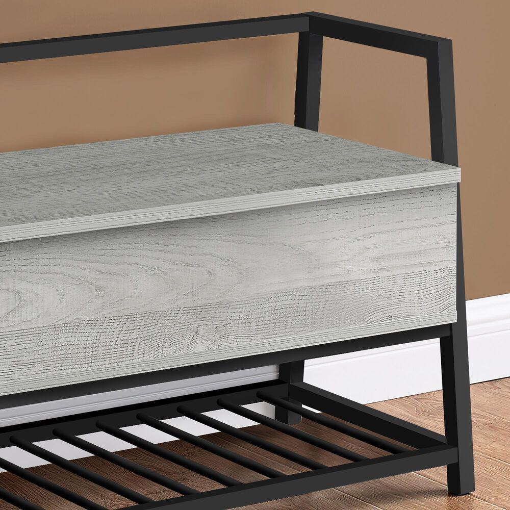 Monarch Specialties Entryway Shoe Storage Bench in Grey, , large