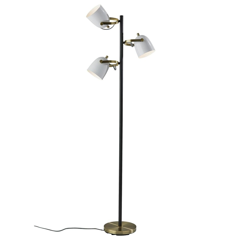 Adesso Casey Tree Lamp in Black/White/Antique Brass, , large