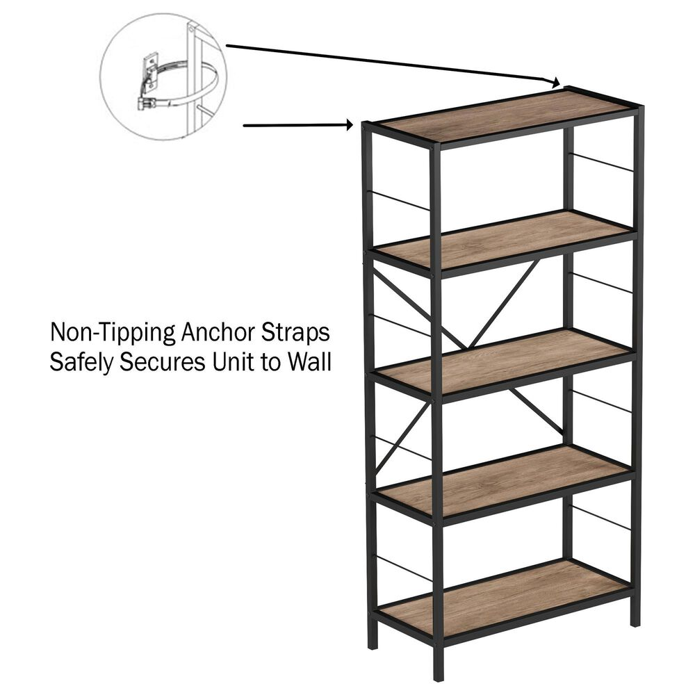 Timberlake Hastings Home 5-Tier Bookcase in Brown and Black , , large