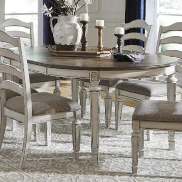 Signature Design by Ashley Realyn Round to Oval Dining Room Extension Table in Chipped White - Table Only, , large