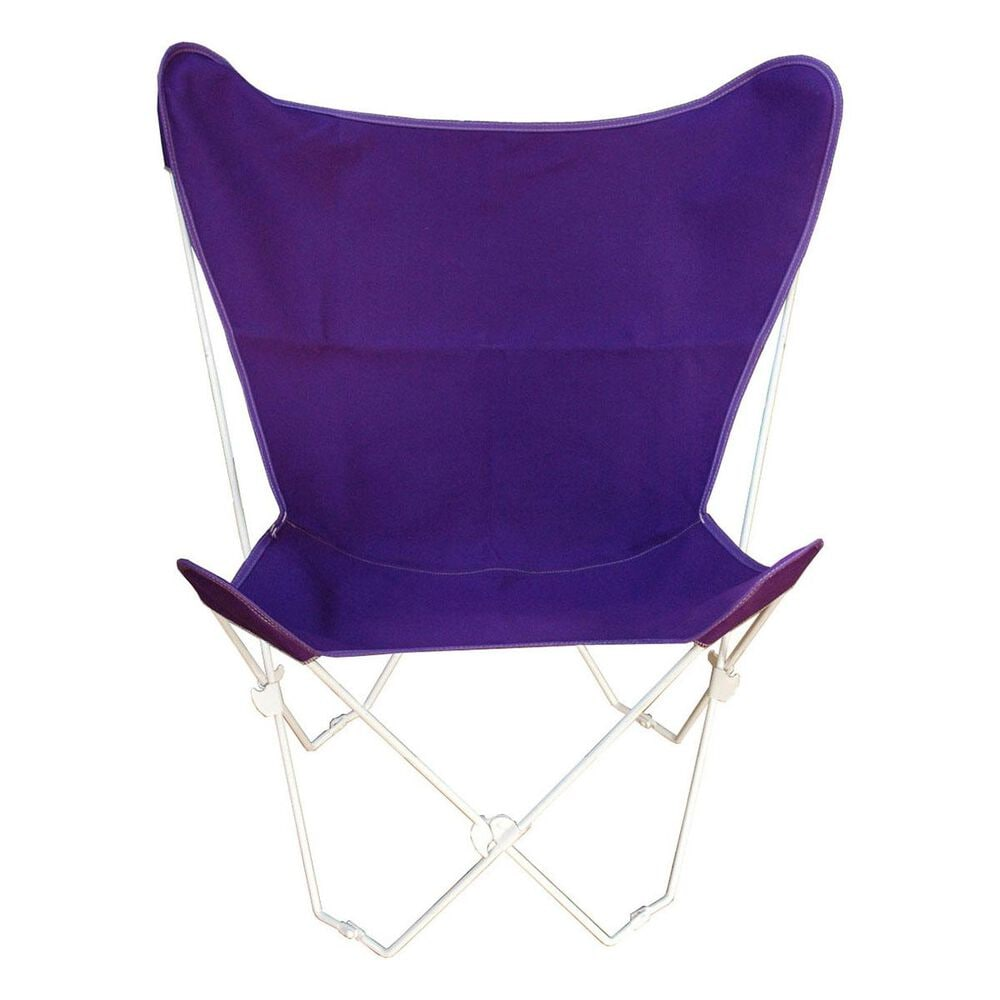 Algoma Butterfly Chair with Purple Cover in White, , large