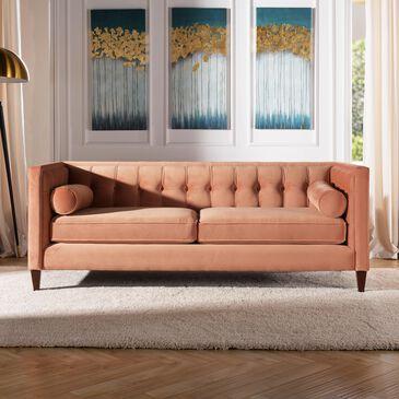 Jennifer Taylor Home Jack Tufted Tuxedo Sofa in Orange Velvet, , large
