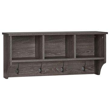 RiverRidge Home Woodbury Wall Shelf with Hooks in Dark Weathered Woodgrain, , large