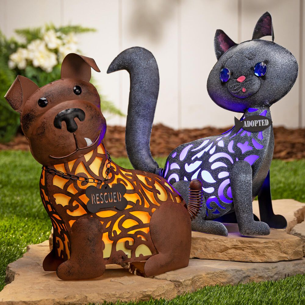 """The Gerson Company 14.37"""" Solar Rescue Cat in Brown and Yellow, , large"""