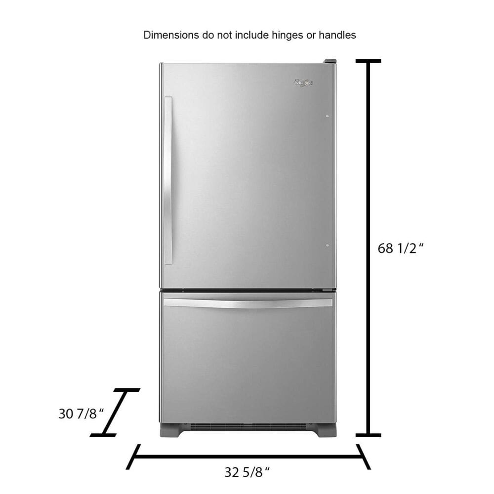 Whirlpool 22 Cu. Ft. Bottom-Freezer Refrigerator with Freezer Drawer, Stainless Steel, large