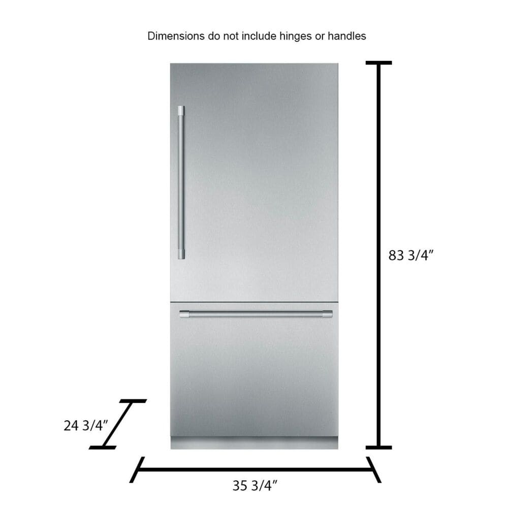 """Thermador 36"""" Built-In Bottom Freezer Refrigerator Pre-Assembled with Professional Handle In Stainless Steel , , large"""