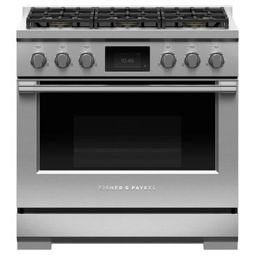 """Fisher and Paykel 36"""" Professional Dual Fuel Range with Liquid Propane in Stainless Steel, , large"""