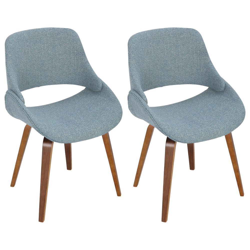 Lumisource Fabrizzi Dining Chair in Blue/Walnut (Set of 2), , large