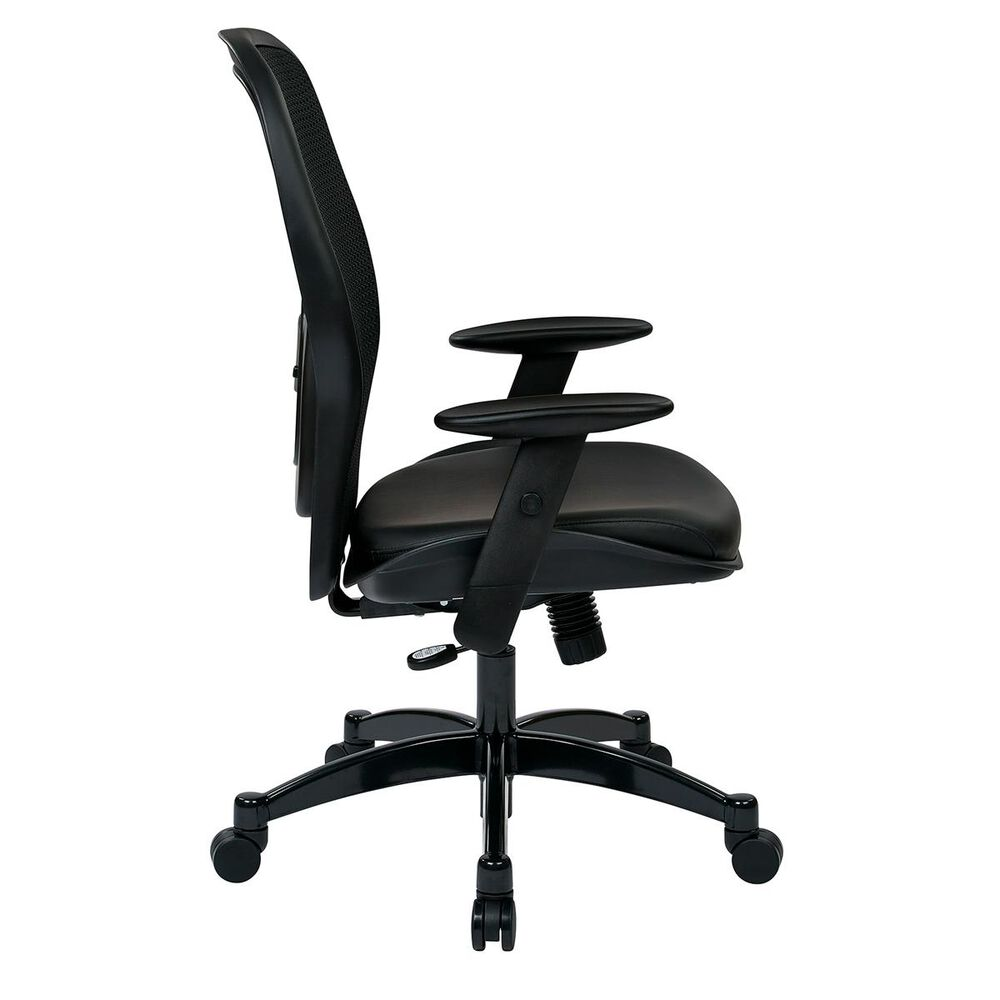 OSP Home Managers Mesh Back Chair in Black Leather, , large