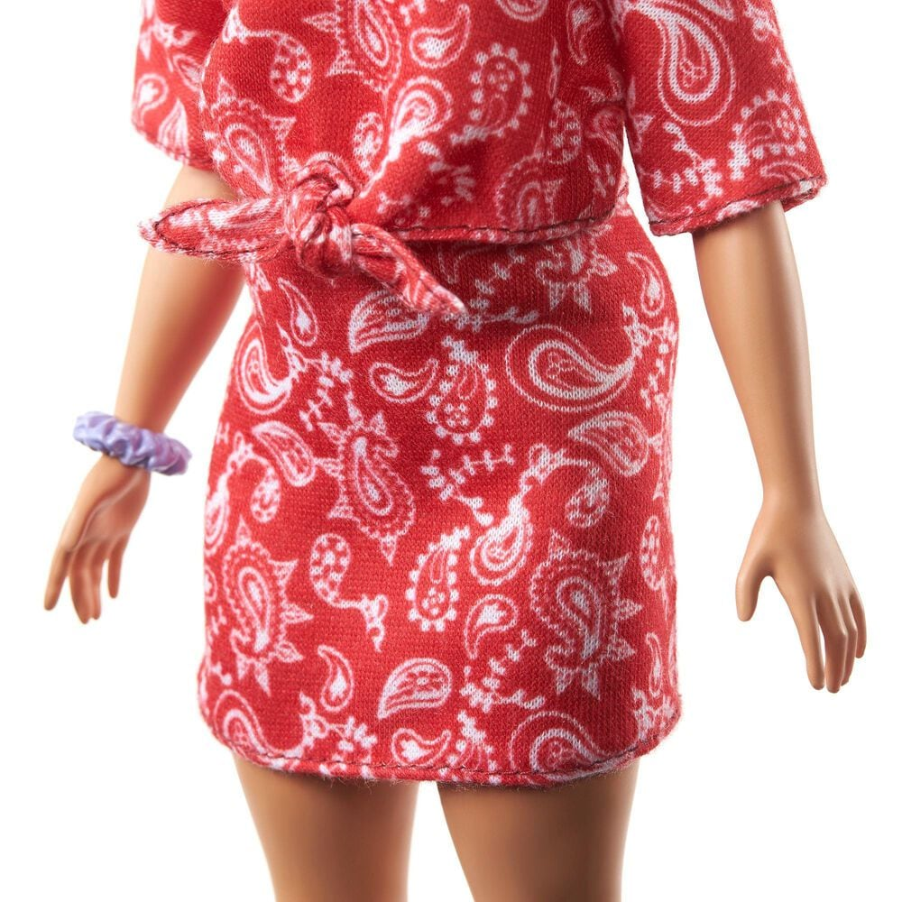 Barbie Fashionista Long Pink Hair and Red Paisley Outfit, , large