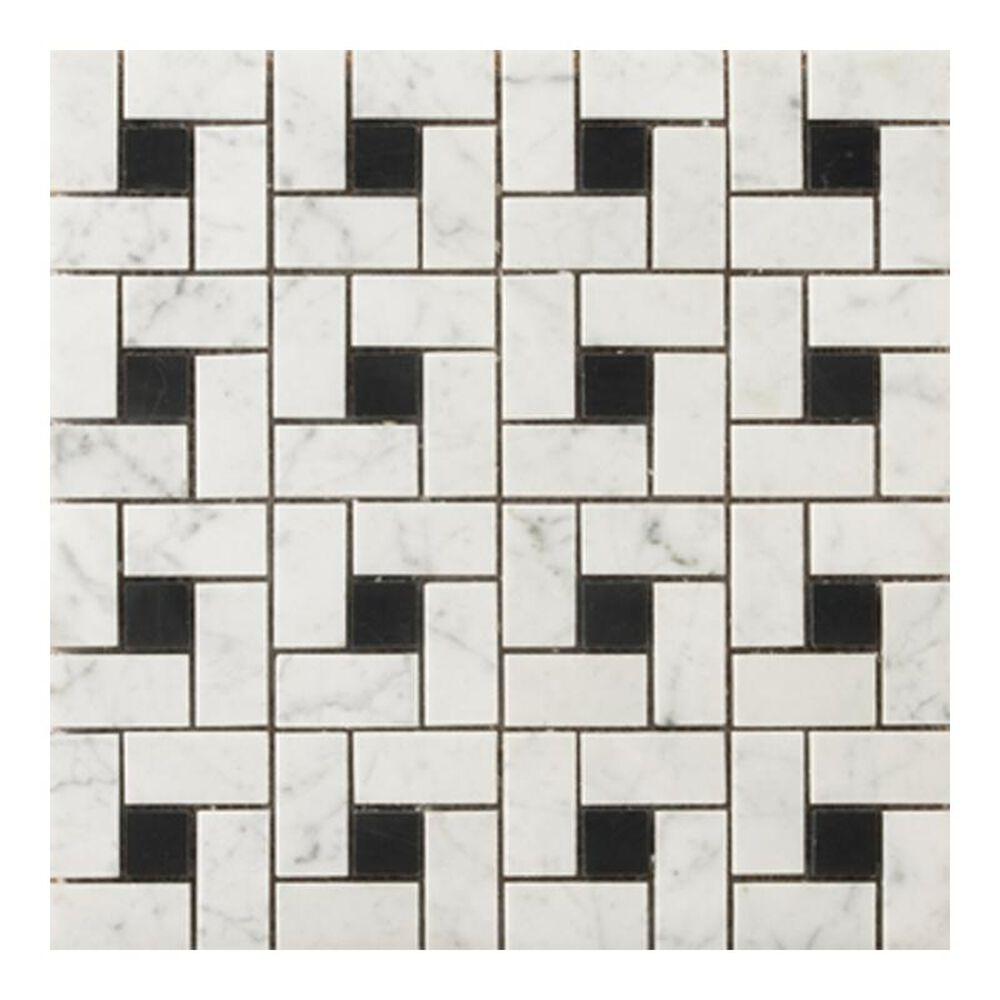 "Emser Bianco Gioia Black 12"" x 12"" Natural Stone Mosaic Sheet, , large"
