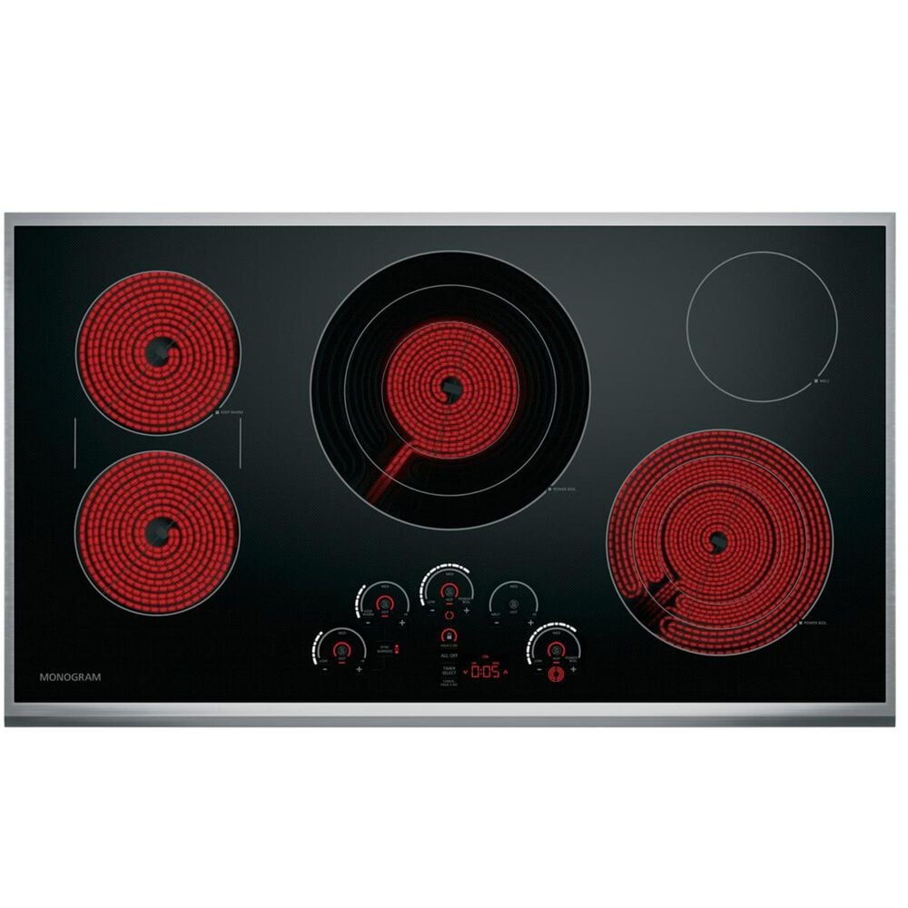 """Monogram 36"""" Touch Control Electric Cooktop in Black , , large"""