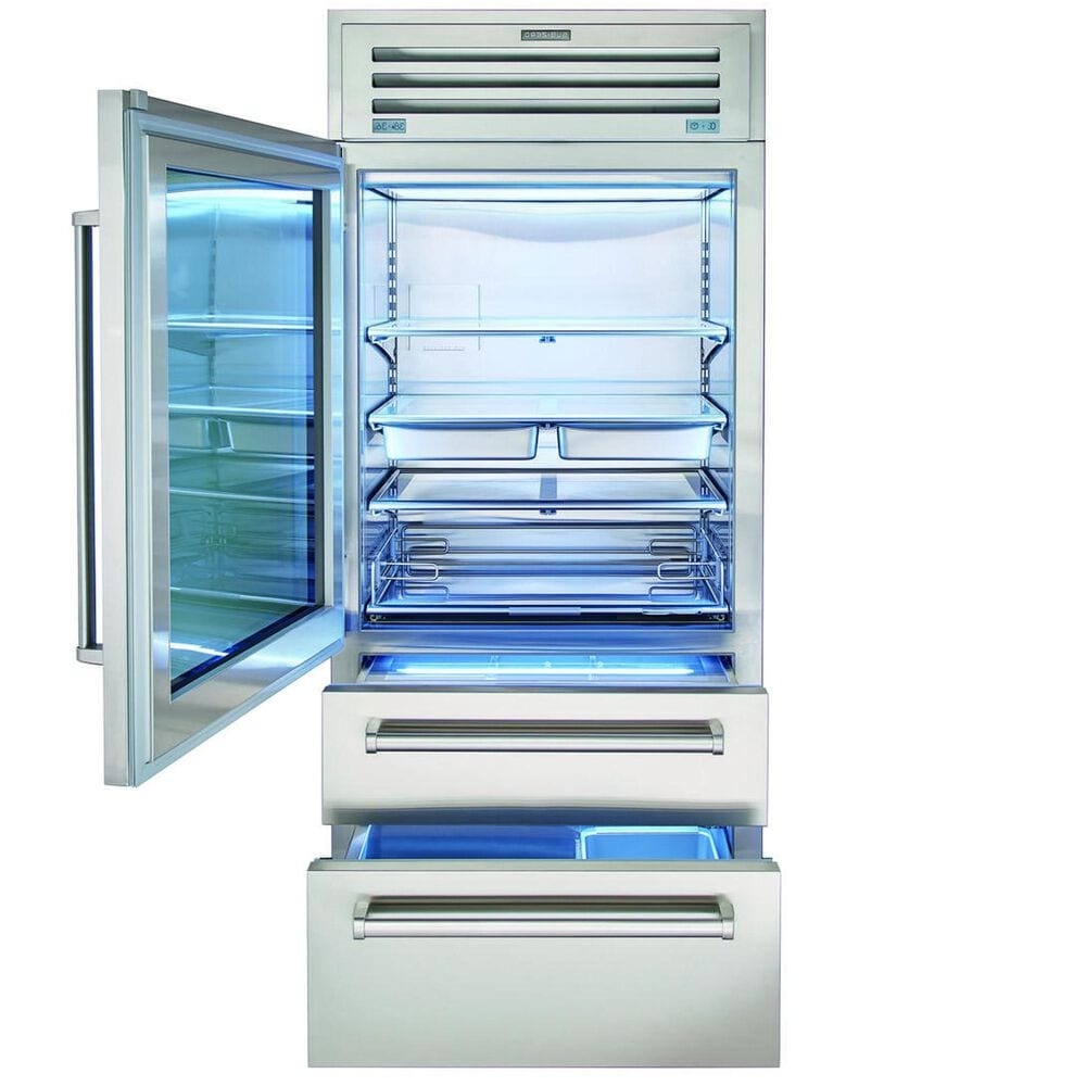"""Roth Distributing Sub-Zero 36"""" PRO Built-In Refrigerator/Freezer with Glass Door on Left Hinge in Stainless Steel , , large"""