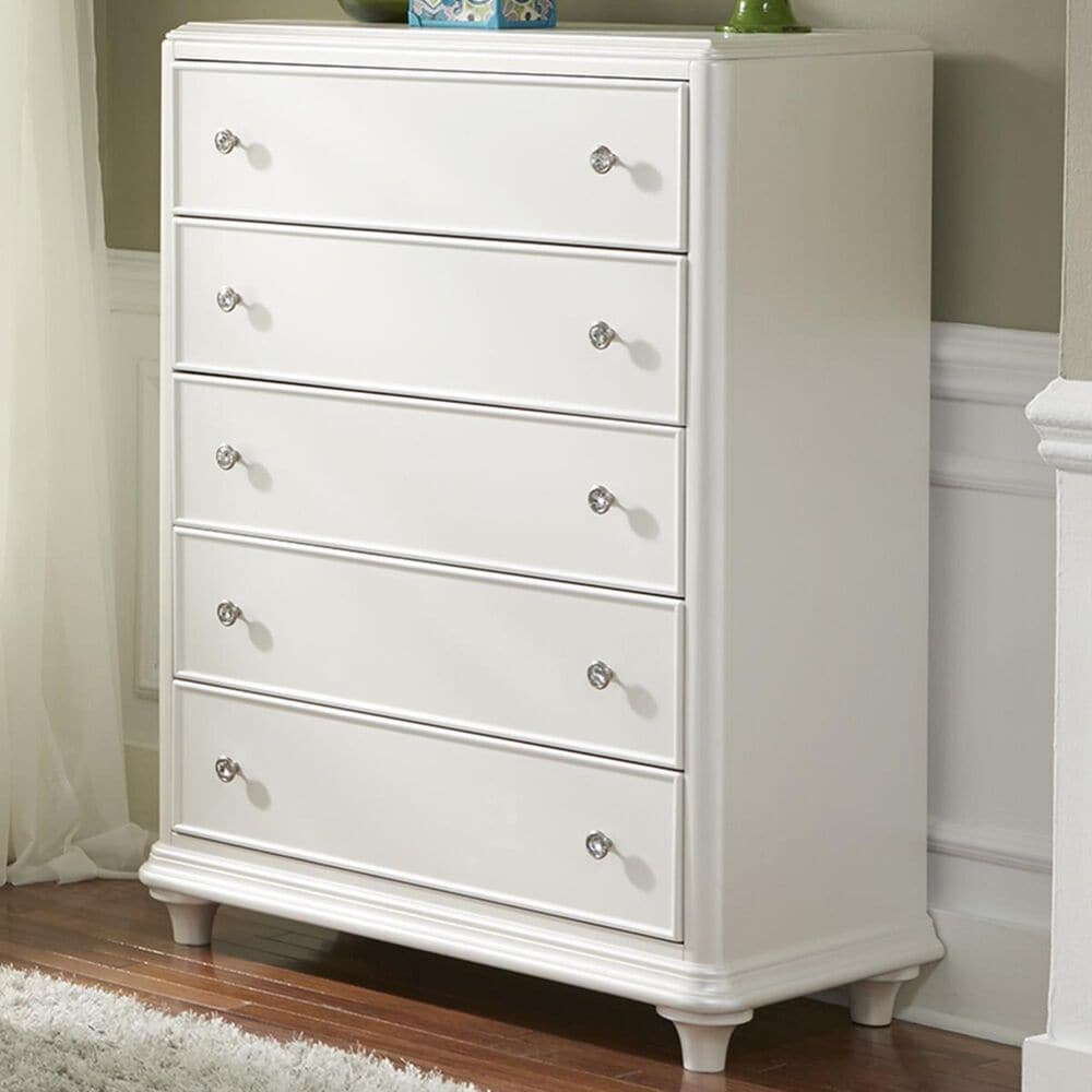 Belle Furnishings Stardust 5 Drawer Chest in Iridescent White, , large