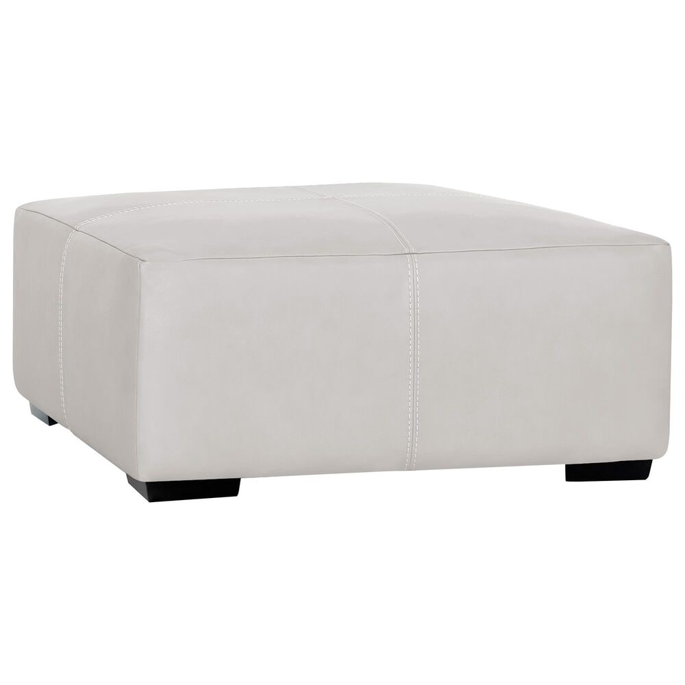 Moore Furniture Lucas Square Cocktail Ottoman in Bison Ivory Leather, , large