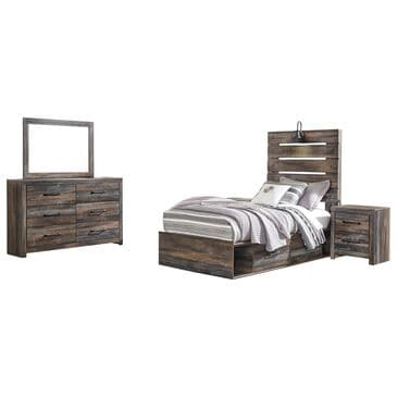 Signature Design by Ashley Drystan 4 Piece Twin Dual Storage Bed Set in Brown Rustic, , large