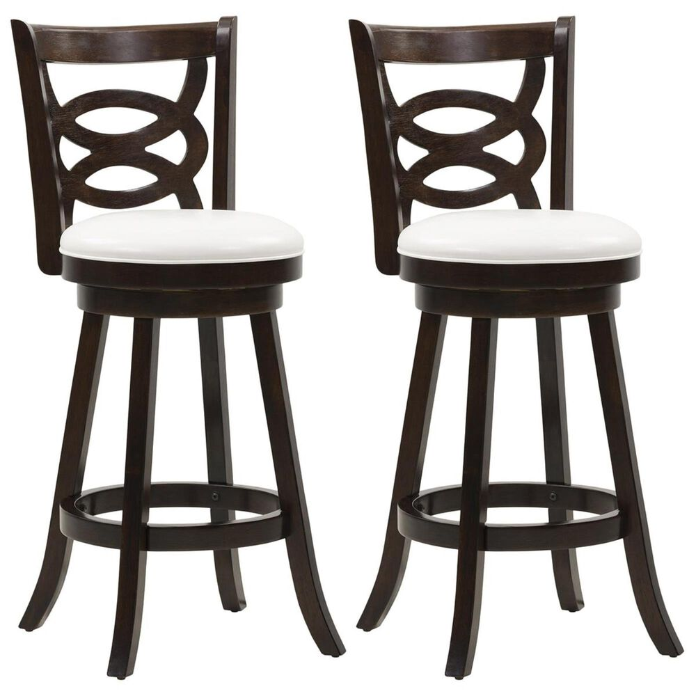 CorLiving Woodgrove Circle Back Barstool in Cappuccino with White Cushion (Set of 2), , large