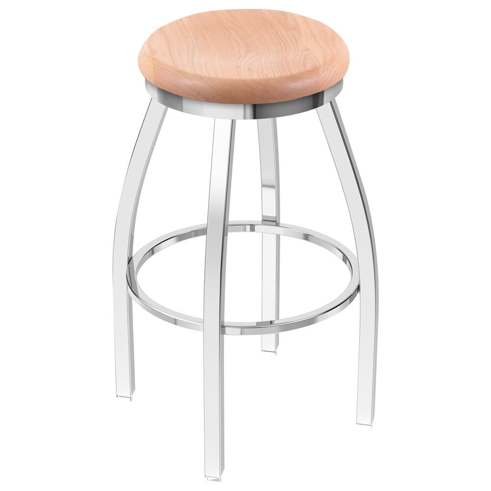 """Holland Bar Stool 802 Misha 25"""" Swivel Counter Stool with Chrome and Natural Oak Seat, , large"""