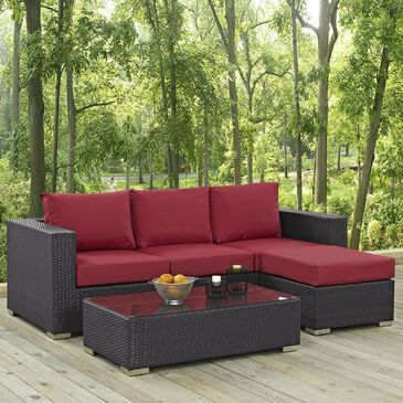Firefly Convene 3-Piece Outdoor Patio Sofa Set in Espresso and Red, , large