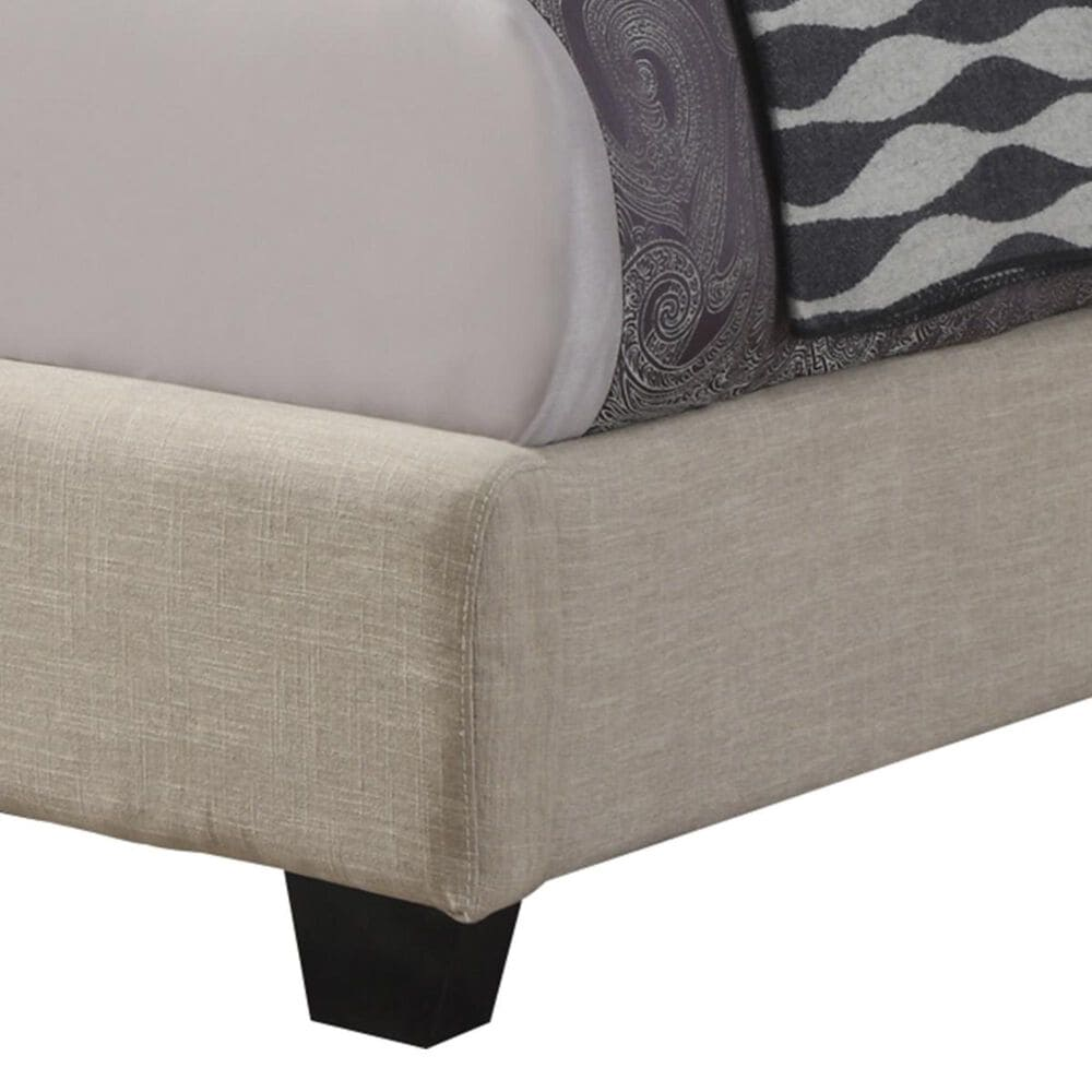 Pacific Landing Chloe Queen Upholstered Bed with Black Legs in Oatmeal, , large