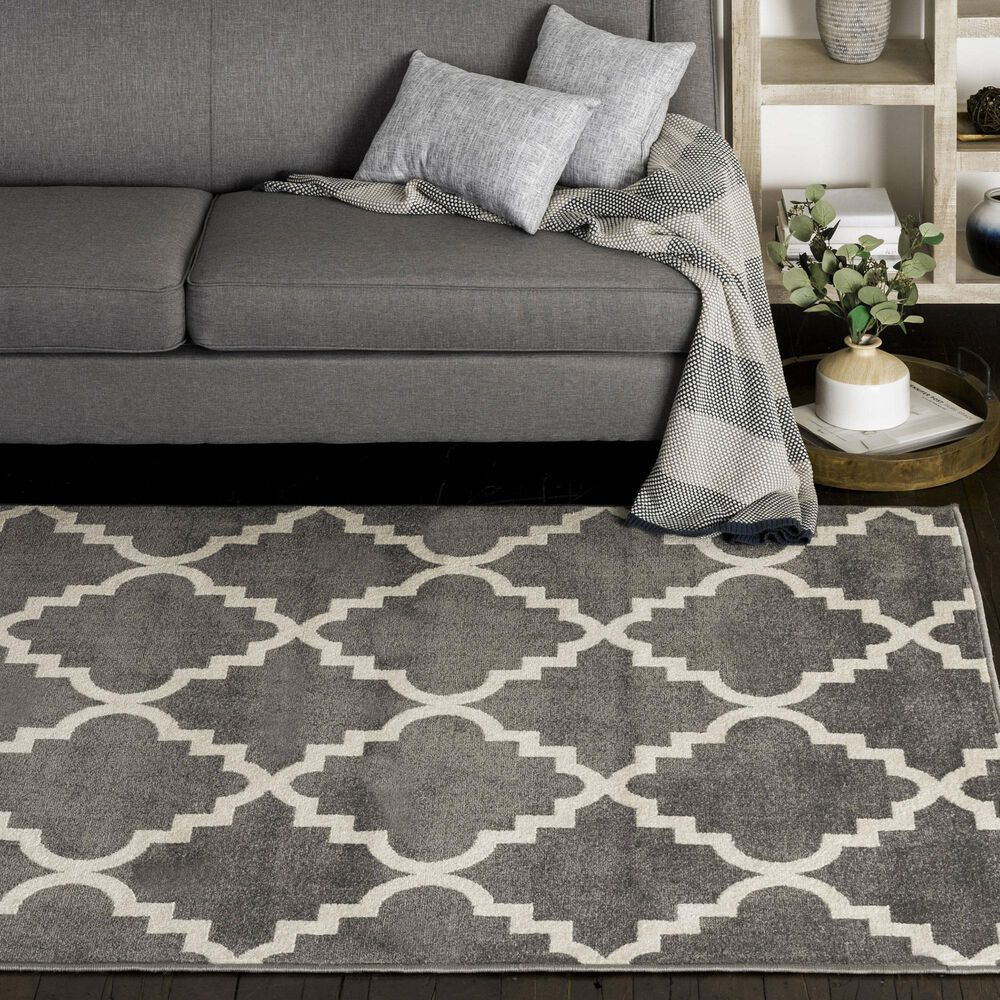 """Central Oriental Terrace Tropic Taza 7'10"""" x 9'10"""" Stone and Snow Area Rug, , large"""