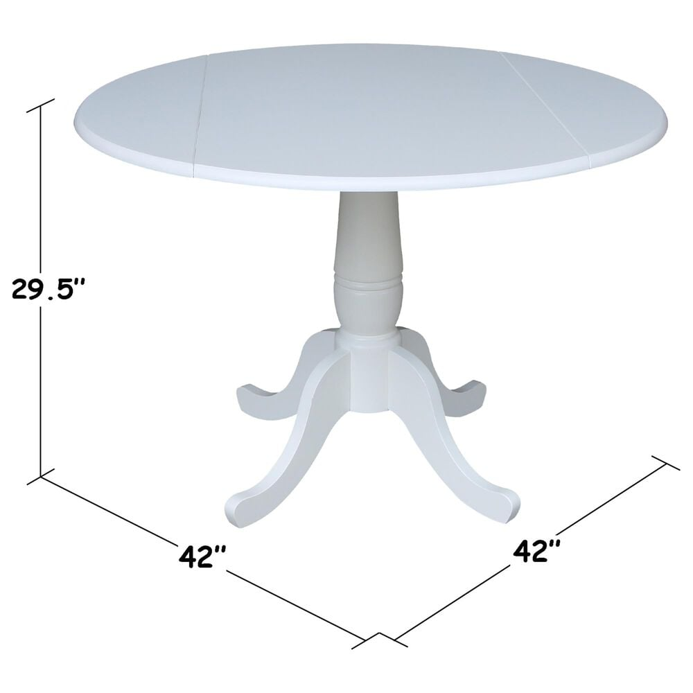 """International Concepts 42"""" Modern Farmhouse Casual Round Drop Leaf Dining Table in White, , large"""